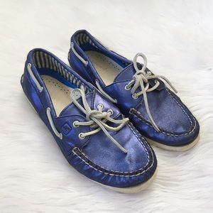 Sperry Blue Metallic Leather Boat Shoes